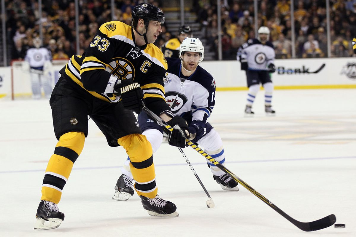 BOSTON, MA - JANUARY 10:  Zdeno Chara #33 of the Boston Bruins looks to pass as Jim Slater #19 of the Winnipeg Jets defends on January 10, 2012 at TD Garden in Boston, Massachusetts.  (Photo by Elsa/Getty Images)