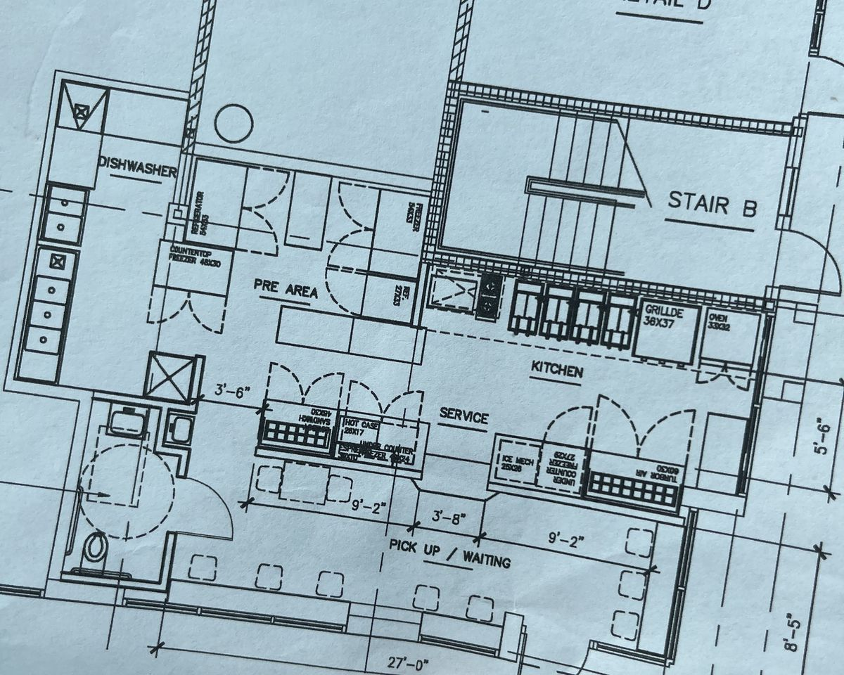 A picture of the floor plan for Mama Đút and Miami Nice's second location on Alberta
