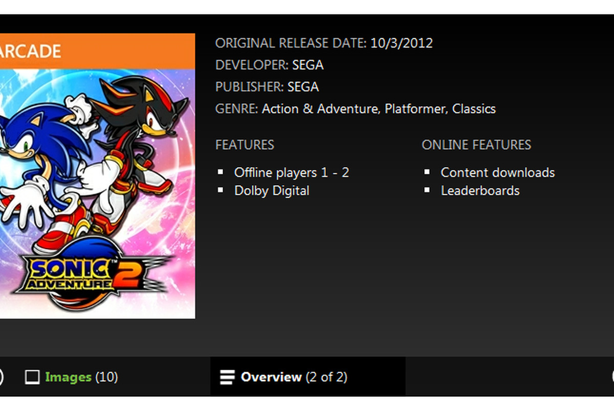 Sonic Adventure 2' listing appears on Xbox com for XBLA