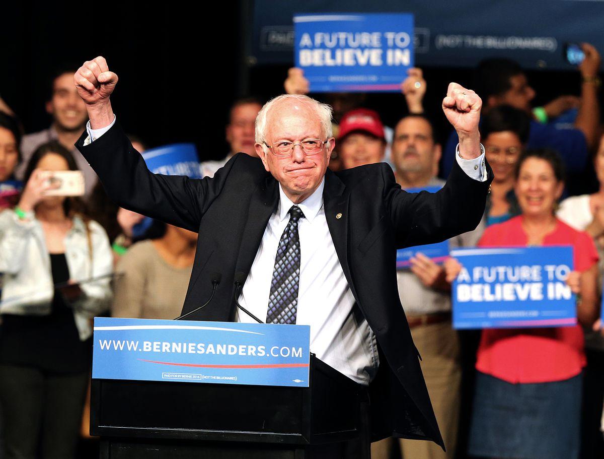 Bernie Sanders pumping his firsts