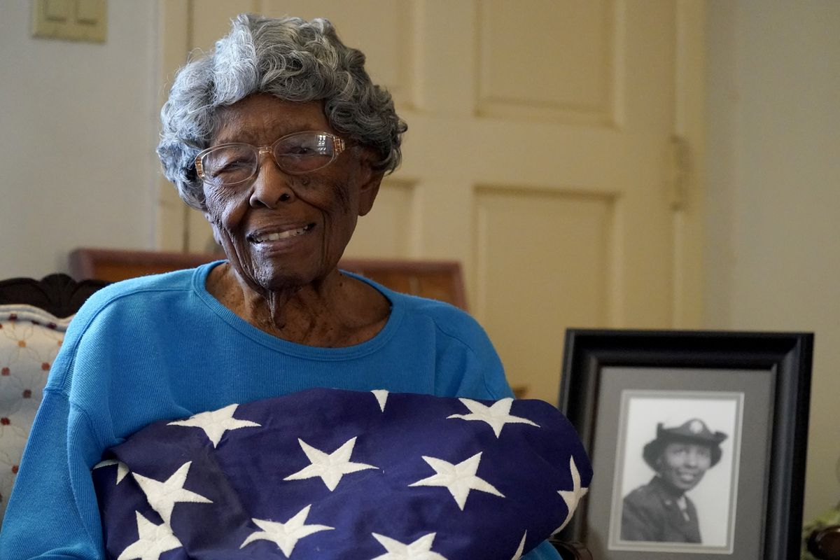 World War II veteran Fannie Griffin McClendon poses at her home in Tempe, Arizona. McClendon had a storied history as a member of the 6888th Central Postal Directory Battalion that made history as the only all-female, black unit to serve in Europe during WWII.