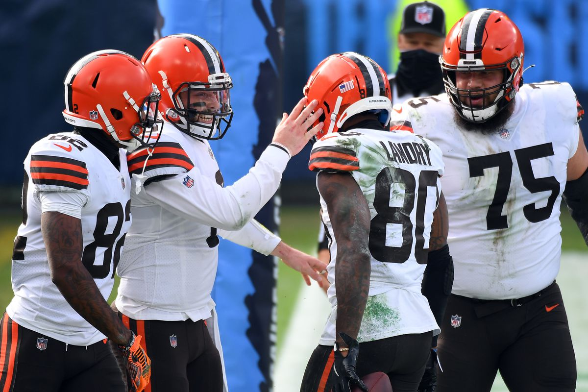 Cleveland Browns quarterback Baker Mayfield (6) celebrates after a touchdown reception from Cleveland Browns wide receiver Jarvis Landry (80) during the first half at Nissan Stadium.