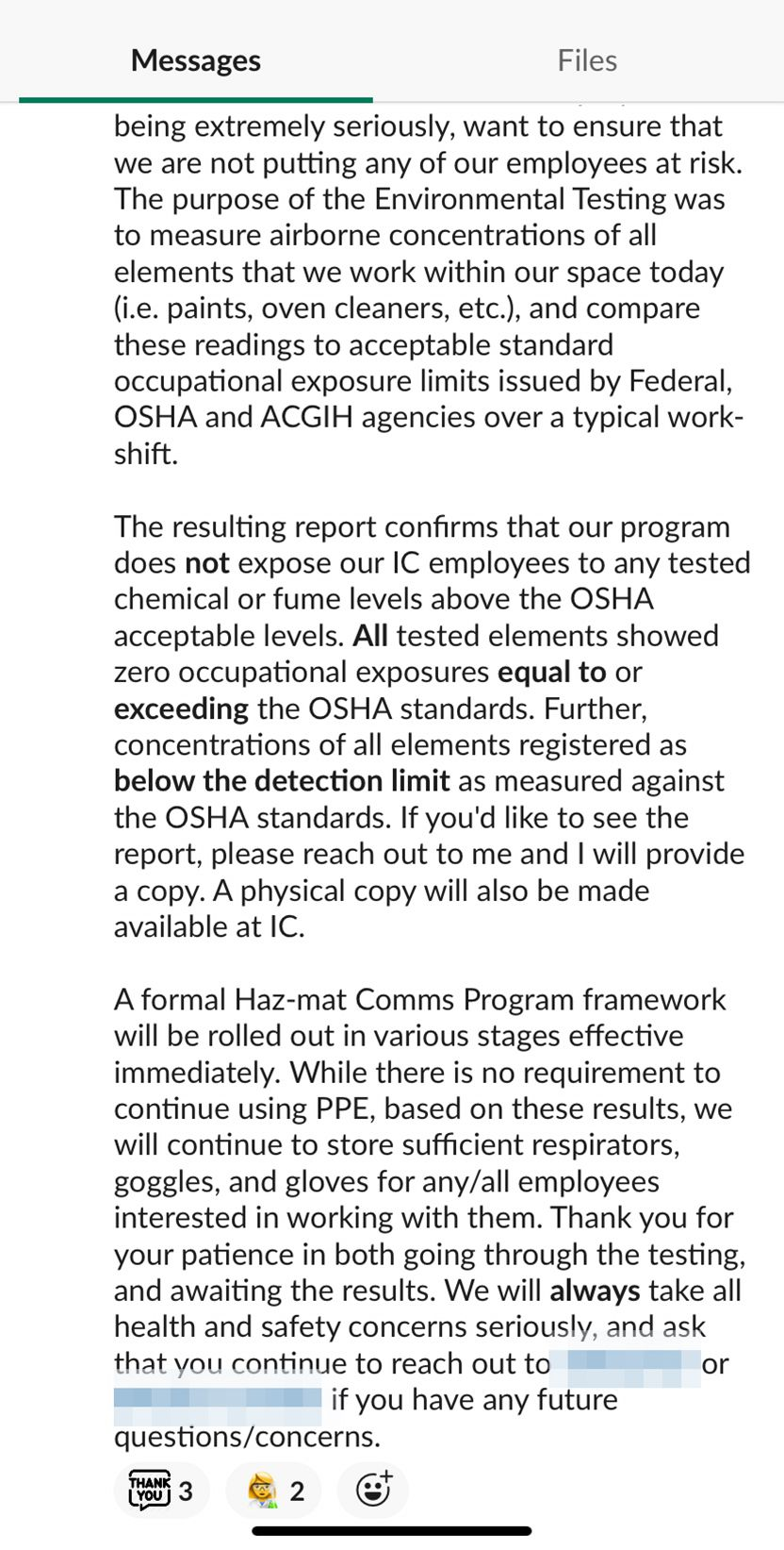 Screenshot of Away explaining to employees the OSHA inspection did not show unsafe levels of chemicals.