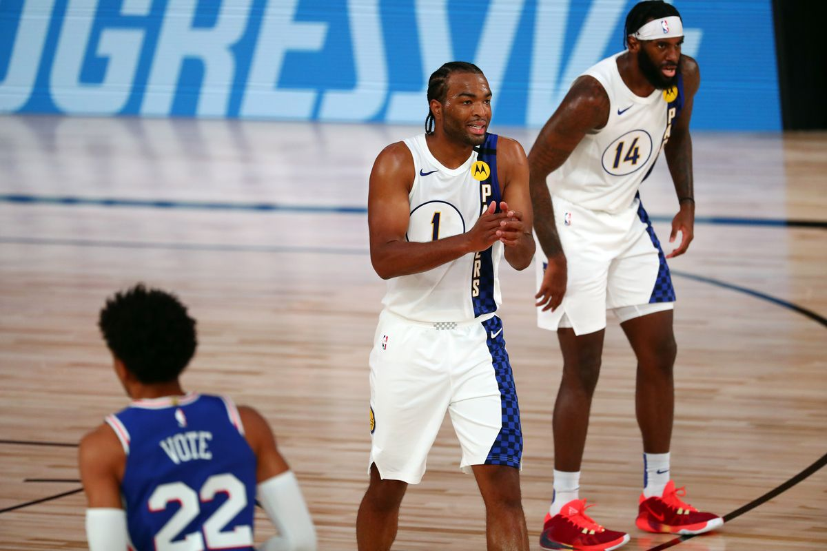 T.J. Warren of the Indiana Pacers reacts during the first quarter of an NBA basketball game against the Philadelphia 76ers at the Visa Athletic Center in the ESPN Wide World Of Sports Complex on August 1, 2020 in Lake Buena Vista, Florida.