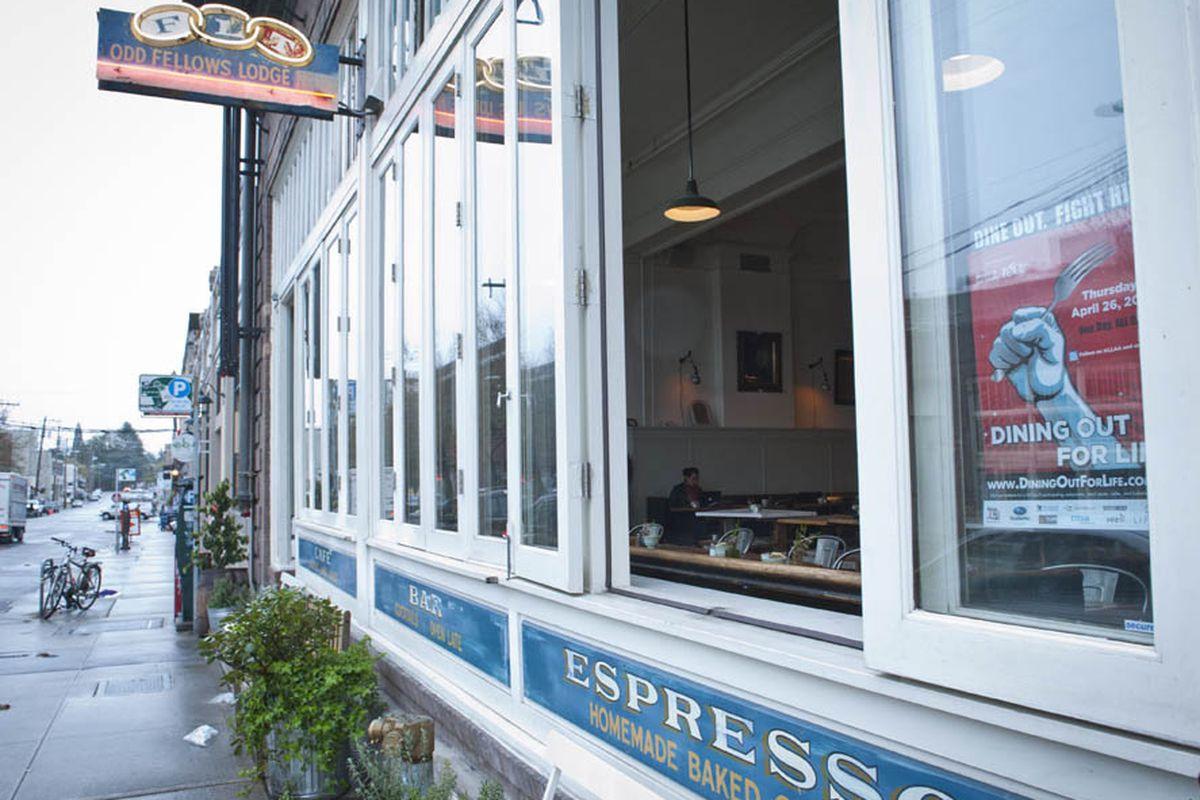 The exterior windows of Oddfellows Cafe and Bar