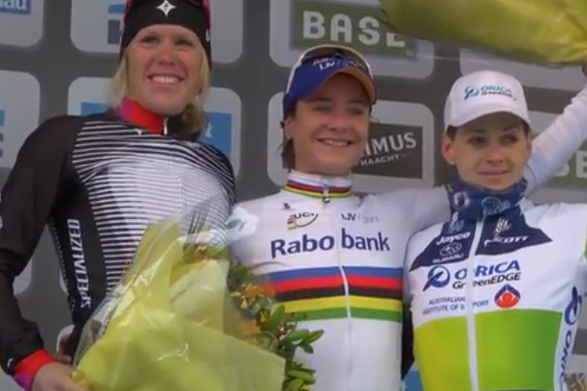 Screenshot, Ronde van Vlaanderen 2013 podium