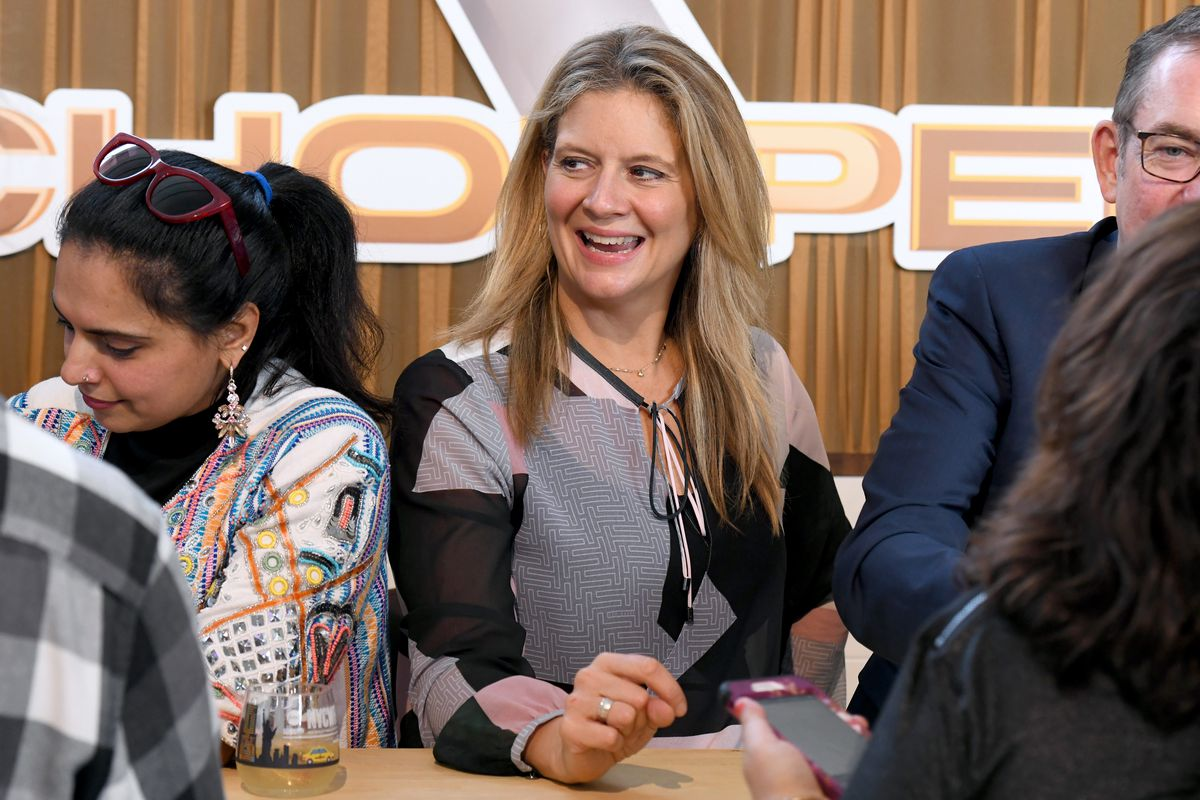 Amanda Freitag greets guests during Sunday Brunch hosted by Marc Murphy and Devour Power at Pier 97 on October 13, 2019 in New York City.