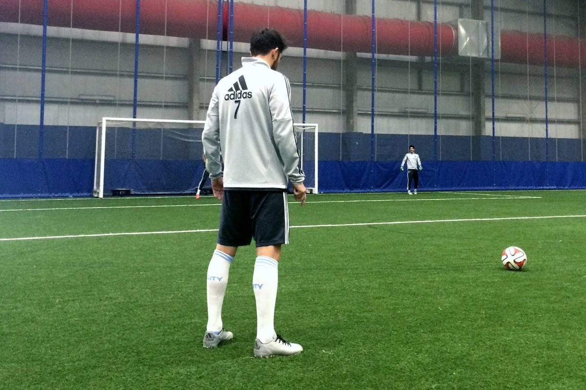 David Villa training with New York City