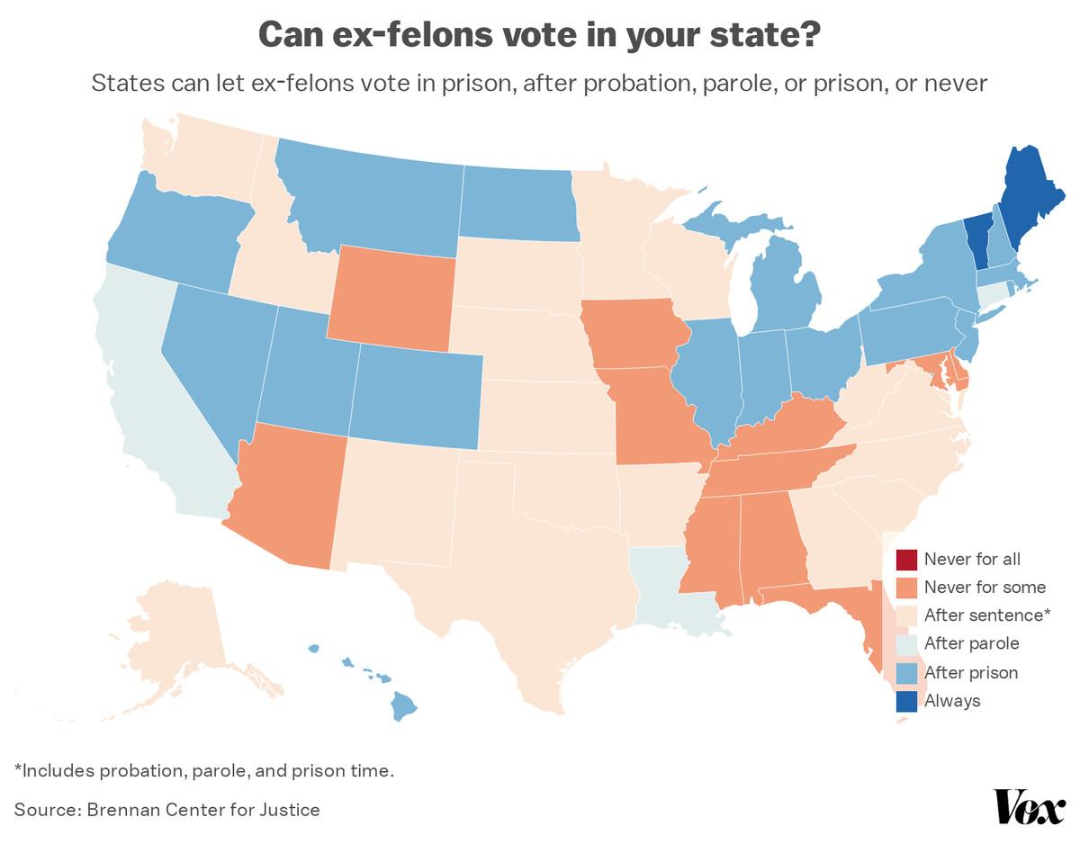 A map of states' felony disenfranchisement laws.