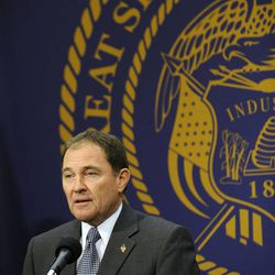 Utah Gov. Gary Herbert joined local business leaders in announcing the state's unemployment rate was at a five-year low at 3.9 percent in the presentation room at the state Capitol on Friday, March 7, 2014.