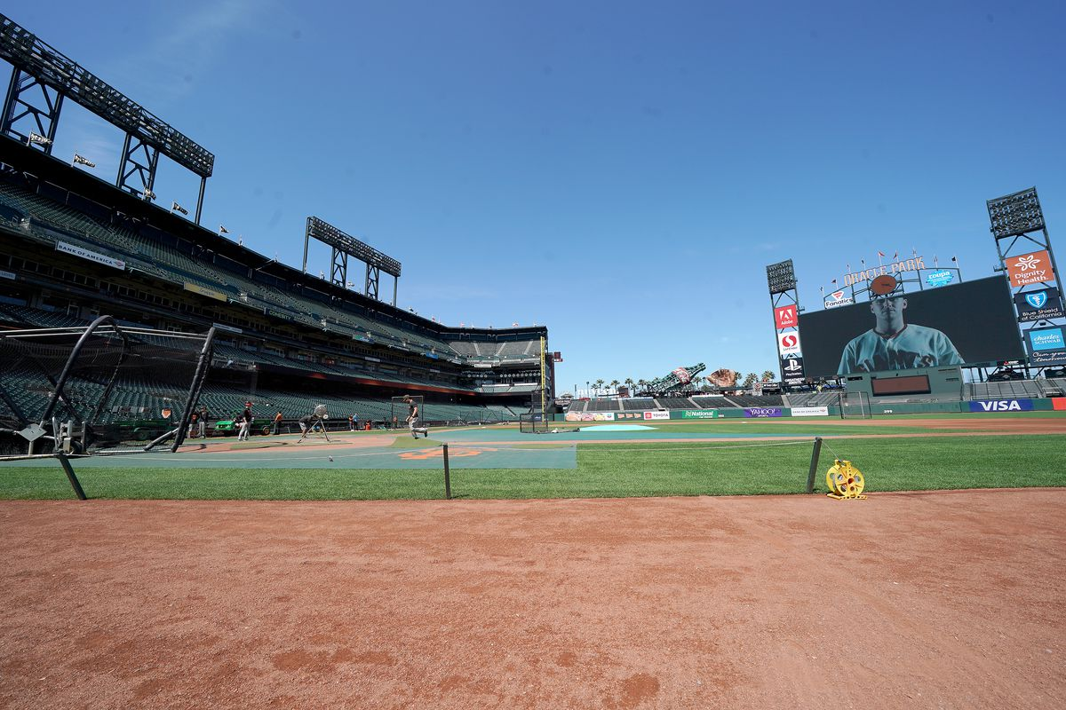 A general view of the inside of Oracle while the grounds crew works on the field prior to the start of a Major League Baseball game between the Philadelphia Phillies and San Francisco Giants at Oracle Park on August 08, 2019 in San Francisco, California.