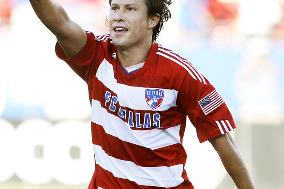 FRISCO, TX - OCTOBER 9:  Milton Rodriguez #7 of FC Dallas points to the stands in celebration after scoring a goal against the Colorado Rapids at Pizza Hut Park on October 9, 2010 in Frisco, Texas. (Photo by Brandon Wade/Getty Images)