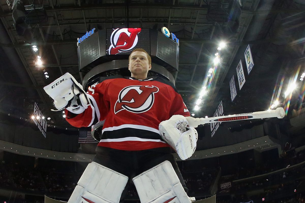The Devils' best player tonight, standing tall.