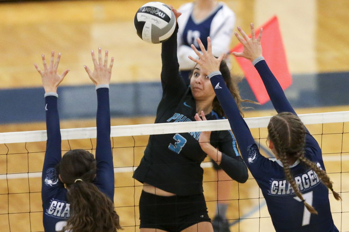 Farmington High School and Corner Canyon High School face off in a volleyball match at Corner Canyon High School in Draper on Thursday, Sept. 5, 2019. Farmington won in three straight sets.