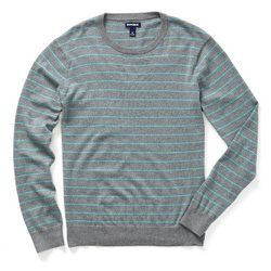 """<strong>Bonobo's</strong> Tidewater Sweater in Heather Grey/Teal, <a href=""""http://www.bonobos.com/grey-teal-maritime-stripe-sweater-for-men"""">$58 (reg $78)</a> at Bonobo's Guideshop Soho"""