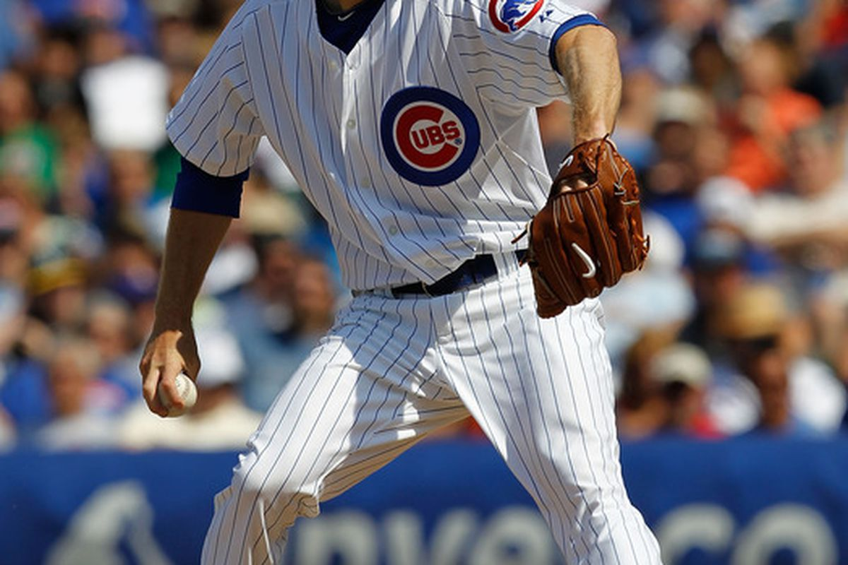 CHICAGO - JUNE 17: Andrew Cashner #48 of the Chicago Cubs pitches against the Oakland Athletics at Wrigley Field on June 17, 2010 in Chicago, Illinois. The Cubs defeated the Athletics 3-2. (Photo by Jonathan Daniel/Getty Images)