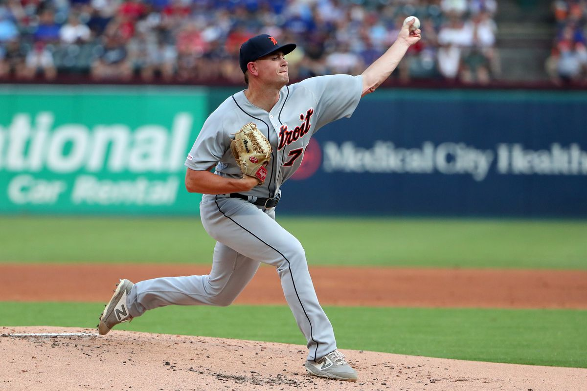 Tyler Alexander #70 of the Detroit Tigers pitches against the Texas Rangers in the bottom of the first inning at Globe Life Park in Arlington on August 02, 2019 in Arlington, Texas.