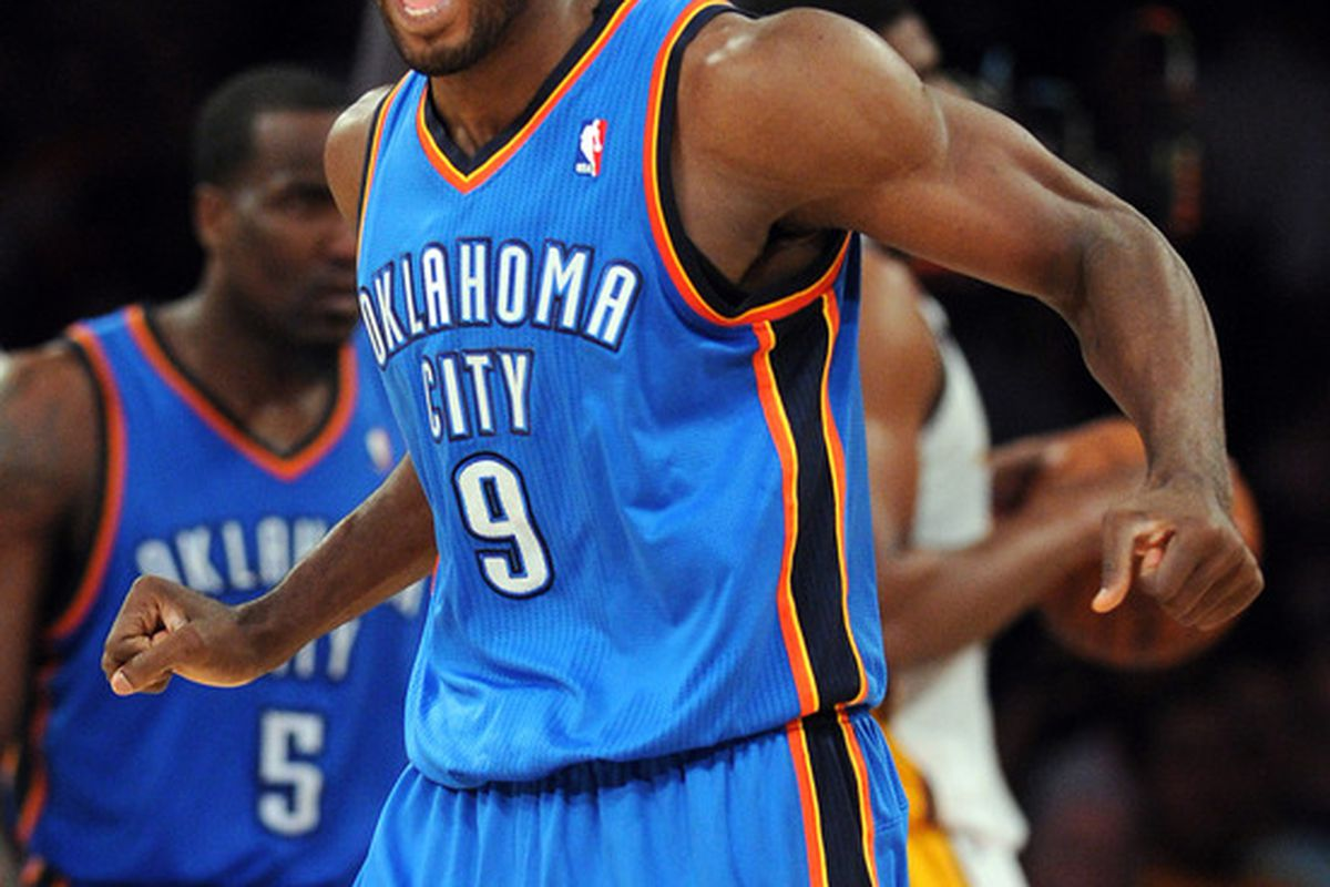 separation shoes 45435 c6d54 ... Fun Fact Serge Ibaka was the only starter for the Thunder to wear the  same home ...
