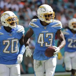 Los Angeles Chargers defensive back Desmond King (20) congratulate cornerback Michael Davis (43) after Davis intercepted a pass, during the second half at an NFL football game against the Miami Dolphins, Sunday, Sept. 29, 2019, in Miami Gardens, Fla. The Chargers defeated the Dolphins 30-10.