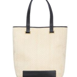 Look 19: Woven Straw Tote in Cream/Black, $49.99 (Available at Target.com only)