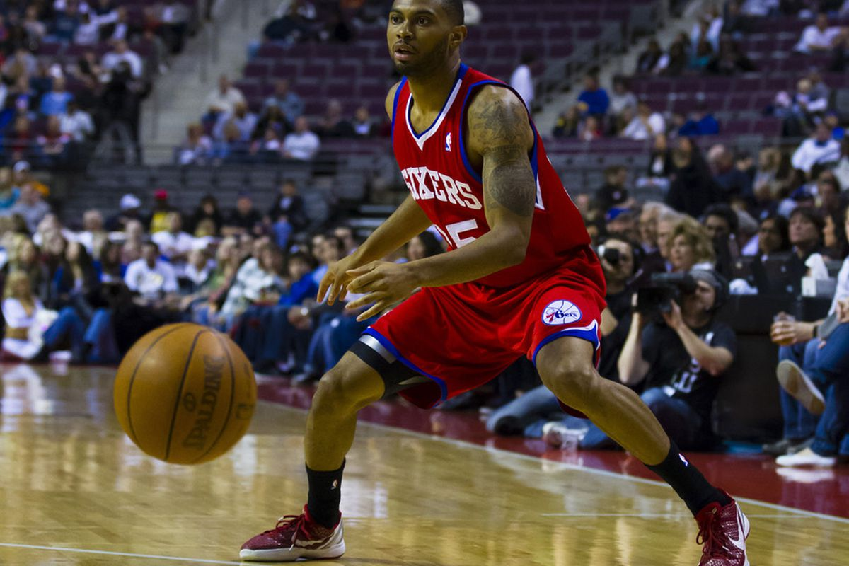 April 26, 2012; Auburn Hills, MI, USA; Philadelphia 76ers Xavier Silas (25) passes the ball in the first quarter against the Detroit Pistons at The Palace. Mandatory Credit: Rick Osentoski-US PRESSWIRE