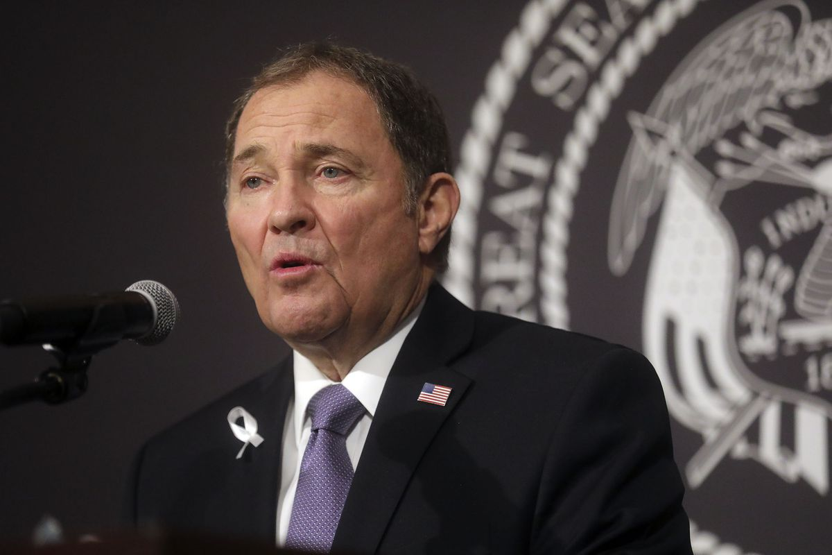 Gov. Gary Herbert speaks during the daily COVID-19 media briefing at the Capitol in Salt Lake City on Tuesday, April 7, 2020.