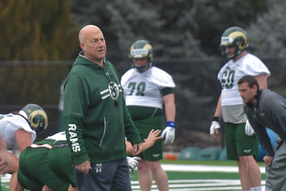 Colorado State football coach Steve Addazio during practice outside Canvas Stadium.