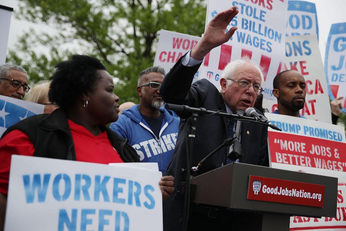 Senators Sanders, Schumer, And Murray Rally With Fair Living Wage Activists On Raising Minimum Wage