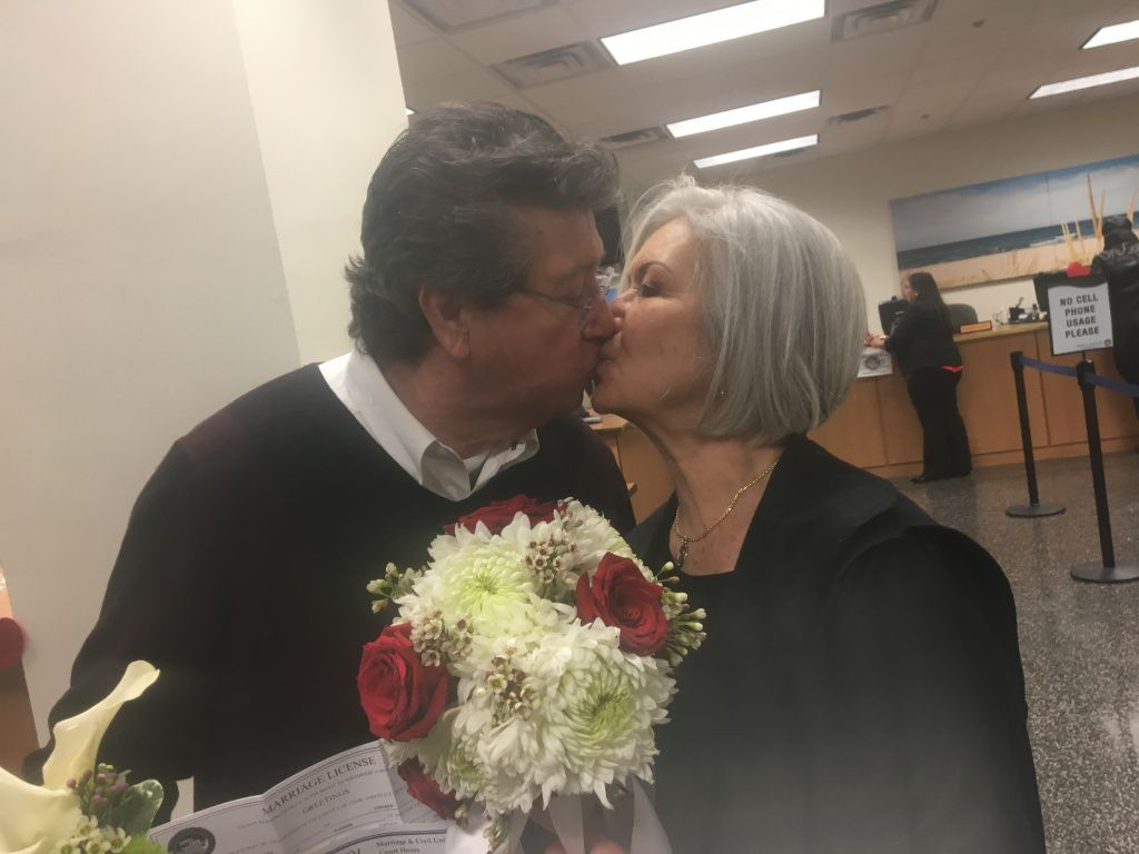 Leticia Vargas, 72, and Jose Raygoza, 69, thought they'd have to wait another day to bet married. But another couple's decision to put things off was a lucky break for them. | Stefano Esposito/Sun-Times