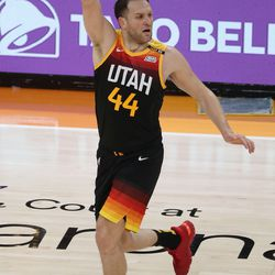 Utah Jazz forward Bojan Bogdanovic (44) celebrates a 3-pointer during Game 5 of their NBA playoff series against the LA Clippers in Salt Lake City on Wednesday, June 16, 2021.