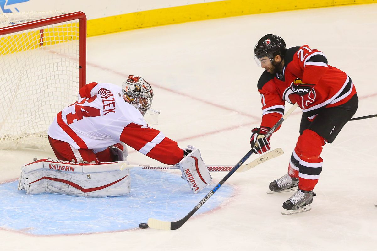 Picture is also symbolic of night. For the one time Kyle Palmieri was near the net and was stretching out Petr Mrazek, he lost the puck at the end of the crease.