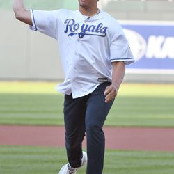Chiefs quarterback Patrick Mahomes throws out the first pitch before a May game against the Yankees.