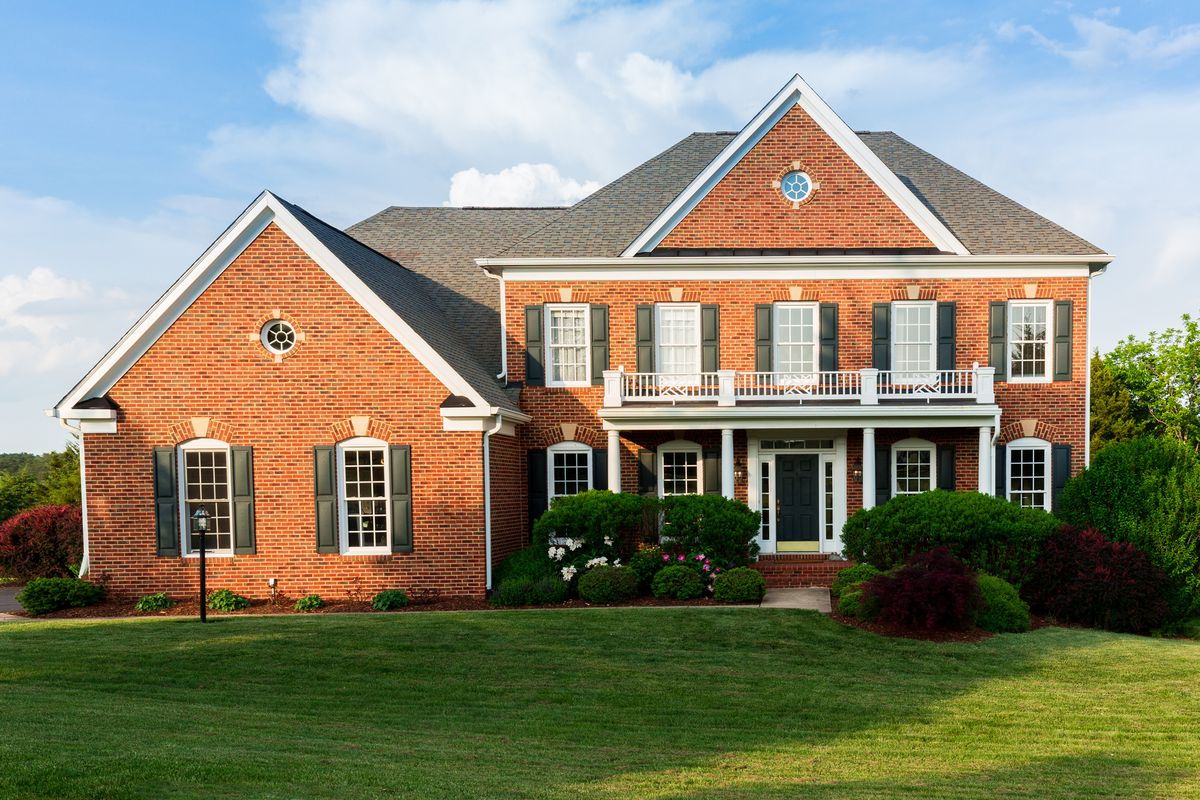 Red brick traditional American home.
