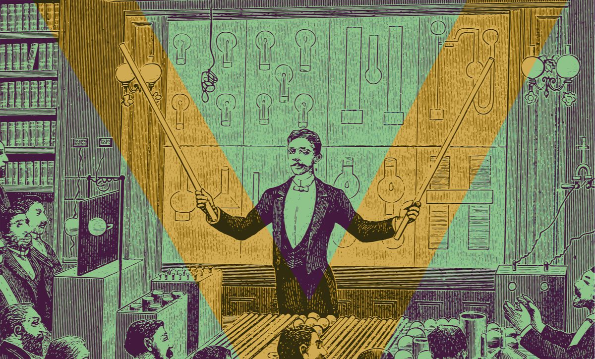 An engraving of Tesla lecturing in the 1880s