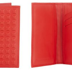 Your friends will ogle over this every time you take it out of your bag! The <b>Balenciaga 3D-Pyramid Organizer Card Case</b> features a unique design of 3D flat-top pyramids in red smooth calfskin. Multiple card slots and pockets will keep everything tog