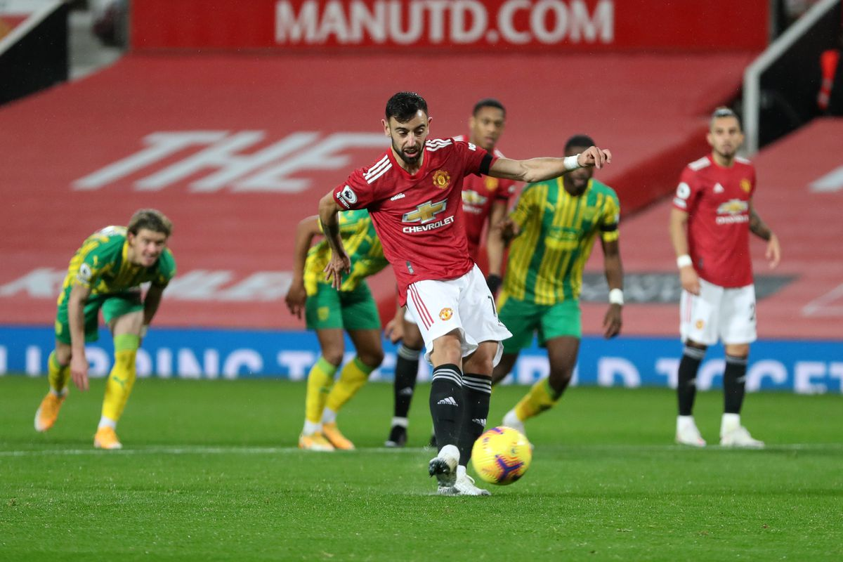 Manchester United 1 0 West Bromwich Albion Bruno Fernandes Nets Penalty As Reds Strike Lucky The Busby Babe