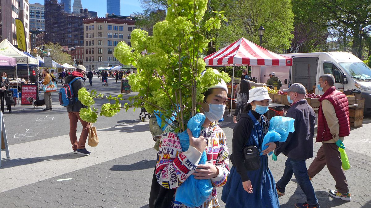 A shopper with a mask in the foreground carries some hydrangea.