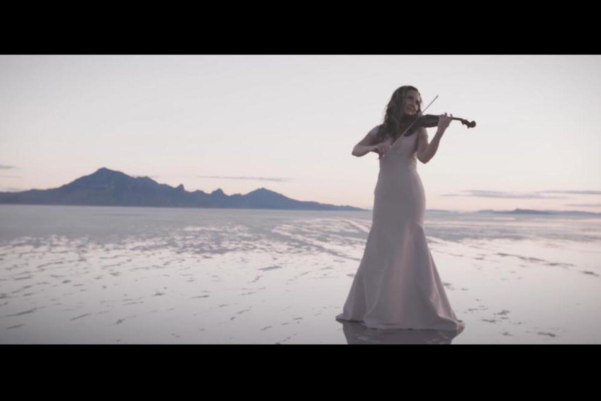 """Jenny Oaks Baker plays """"Nearer, My God, to Thee"""" on the violin."""