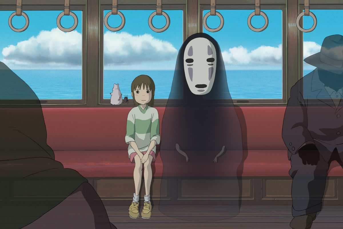 chiro and no face sit on the train in spirited away