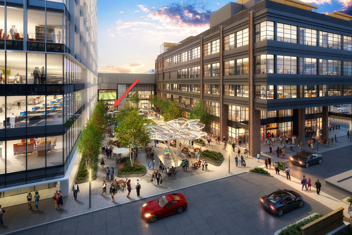 A rendering of the expansion plans for Phipps Plaza includes tow large office buildings with a courtyard between the buildings. A red arrow points to the back of the courtyard to where Botica will open.