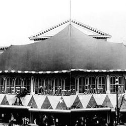 """ZCMI all decked out for Christmas in 1948. The sign on the building states """"The greatest Christmas show in town."""""""