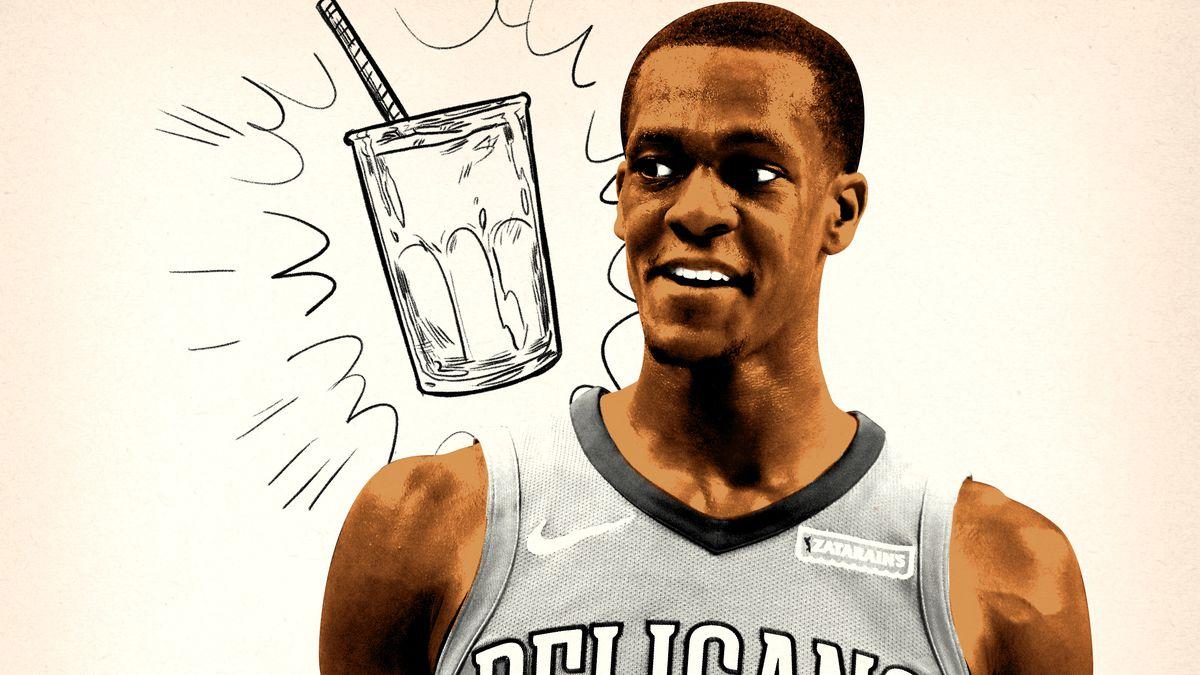 Rajon Rondo smiling next to an illustration of a shake