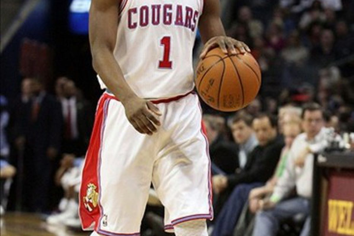 Feb 22, 2012; Charlotte, NC, USA;  Charlotte Bobcats point guard Kemba Walker (1) brings the ball down the court in the first half against the Indiana Pacers at Time Warner Cable Arena. Mandatory Credit: Jeremy Brevard-US PRESSWIRE
