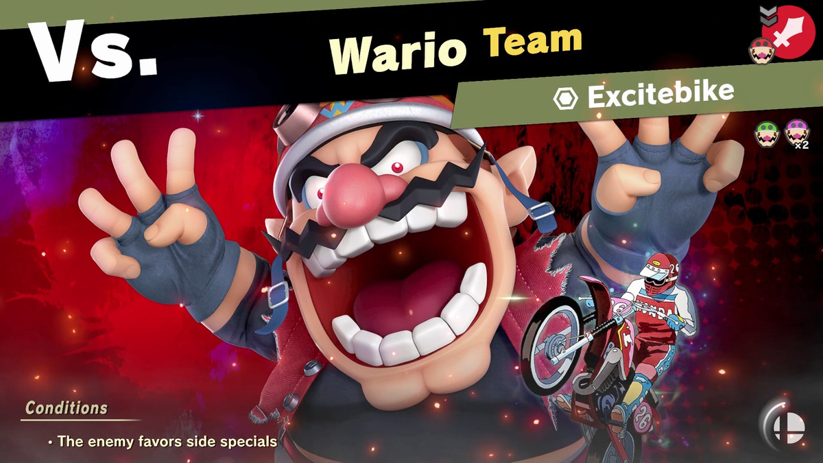 The pre-match splash screen for a spirit battle in Super Smash Bros. World of Light mode. Wario gawks at the camera.