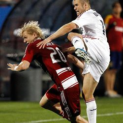 FRISCO, TX - APRIL 25:  Brek Shea #20 of the FC Dallas fights for control of the ball against Chris Wingert #17 of the Real Salt Lake at FC Dallas Stadium on April 25, 2012 in Frisco, Texas. (Photo by Tom Pennington/Getty Images)