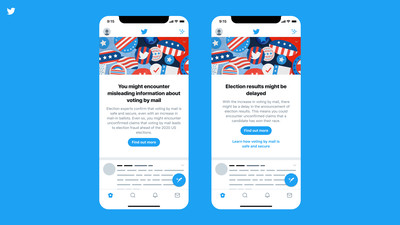 Graphic of Twitter election misinformation banner interface on mobile app.