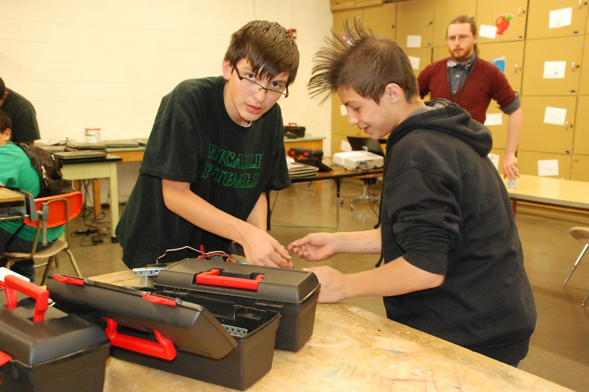 Students at Roncalli Middle School in Pueblo worked on a robotics project in April. Pueblo City Schools is one of 10 school districts the state is monitoring for low performance.
