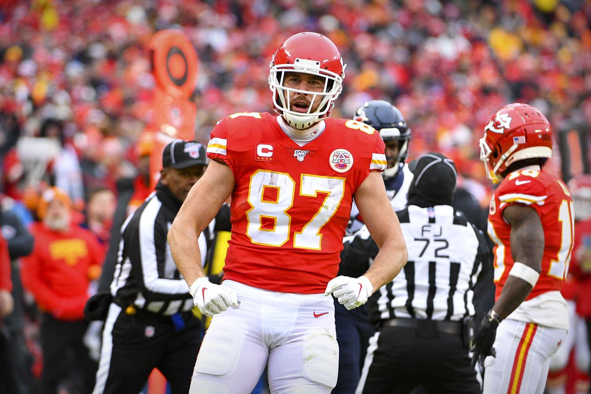 Kansas City Chiefs tight end Travis Kelce celebrates during the second quarter against the Houston Texans in a AFC Divisional Round playoff football game at Arrowhead Stadium.