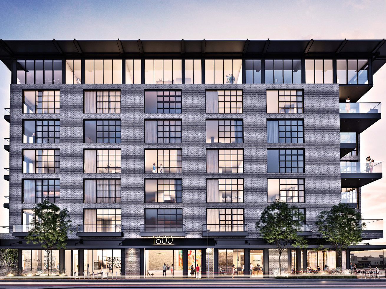 The seven-story building with 122 live-work lofts planned for 1800 East Seventh Street.