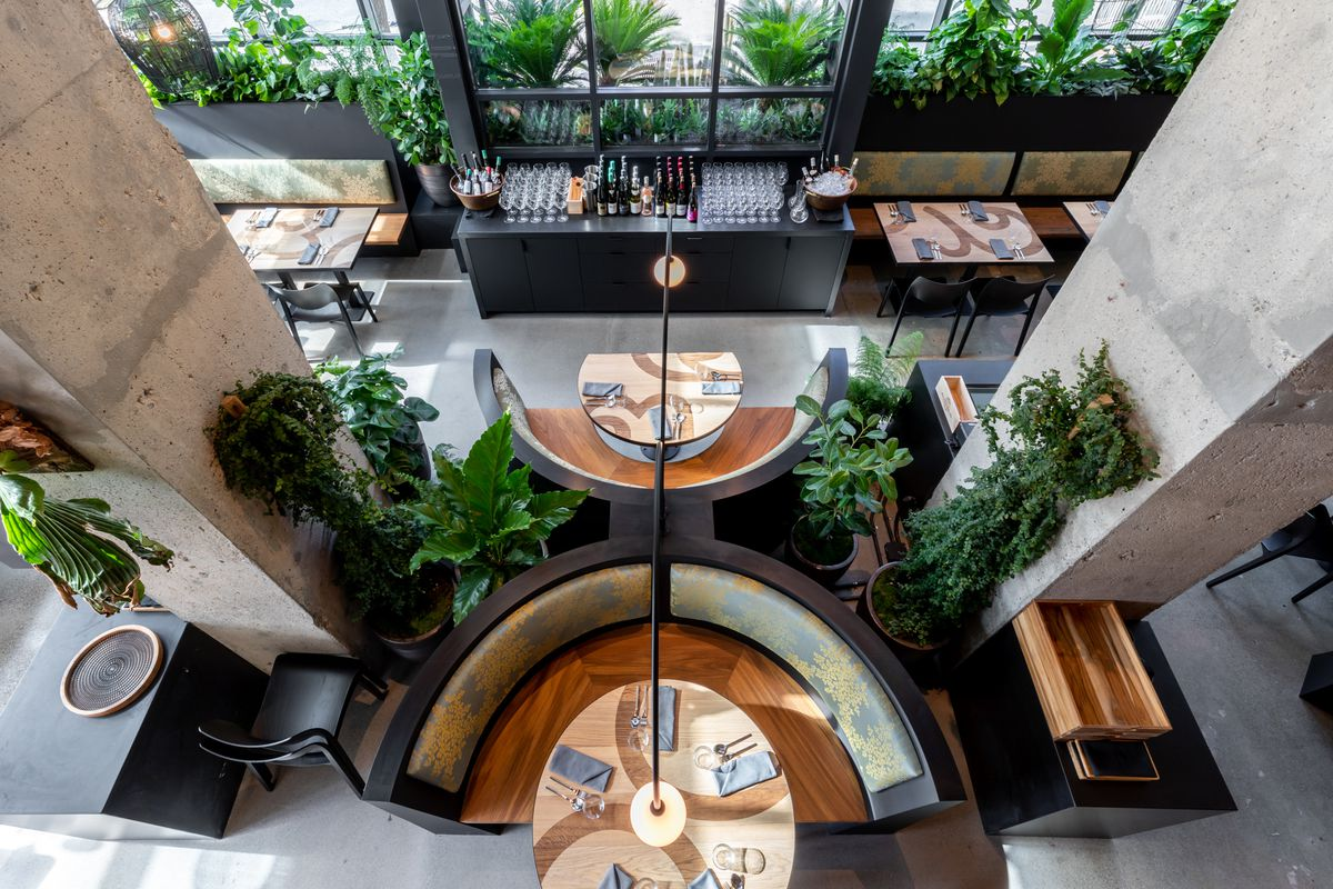 Overhead view of the dining room at Nari